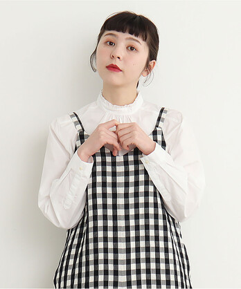 △○無地/ストライプ スタンドカラーシャツ
