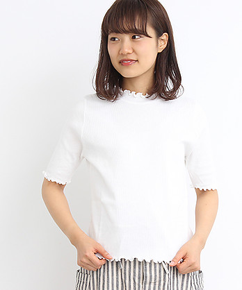△30/テレコ ハイネック 5分袖 プルオーバー