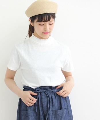△オールドコット天竺 レース付きハイネック半袖Tシャツ