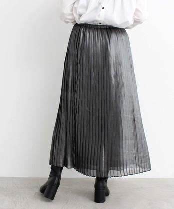 △シフォンラメ プリーツ ミ モレ丈スカート