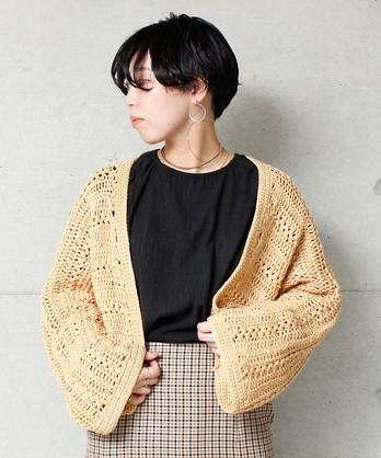 ○カギ編みヘアピンレースショートカーディガン