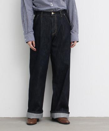 △○デニムカツラギ タックパンツ