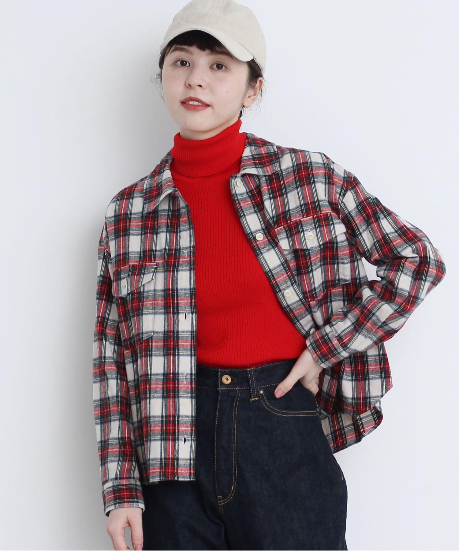 △シャギーチェック ショートシャツ