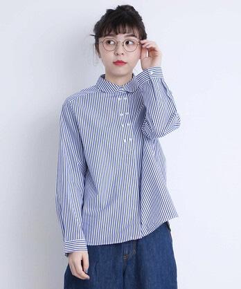△○無地/ストライプ W釦シャツ