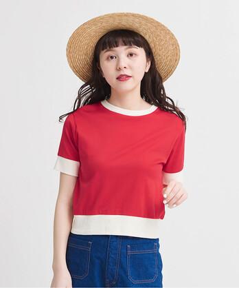 △連シルフライスバイカラー半袖Tシャツ