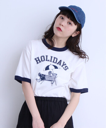 【予約販売】〇5.3oz BEARプリント リンガー半袖Tシャツ