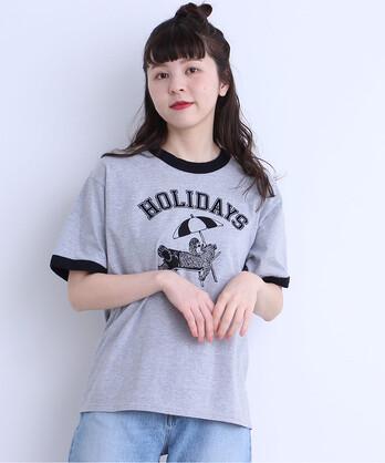 5.3oz BEARプリント リンガー半袖Tシャツ