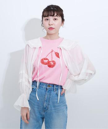 △チェリー刺繍Tシャツ