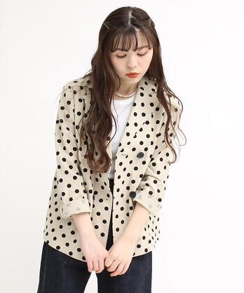 △〇綿麻キャンバスドットプリント ダブルジャケット