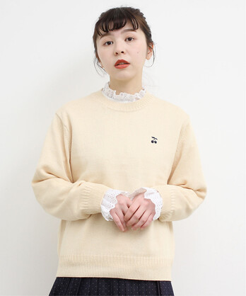 ○チェリー刺繍ニットプルオーバー