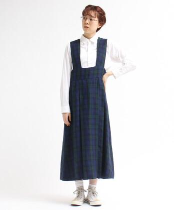 〇リネン先染めチェックつりスカート