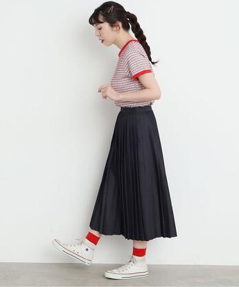 △〇ライトオンスデニム プリーツスカート【サイズ展開あり】