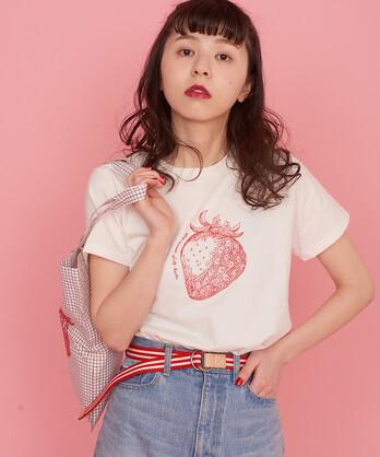 〇△【WEB限定 復刻商品】いちご パイナップル刺繍Tシャツ