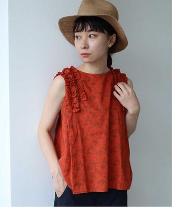 ○製品染めflowerプリント ノースリーブブラウス