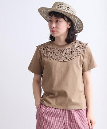○かぎ針編み ラウンド衿 Tシャツ