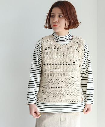 〇ネパールハンドニット かぎ針編みショートベスト