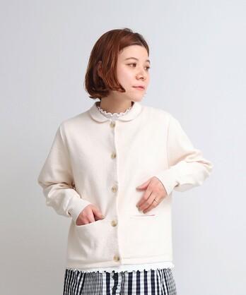 〇pure cotton 12G 丸衿ニットジャケット