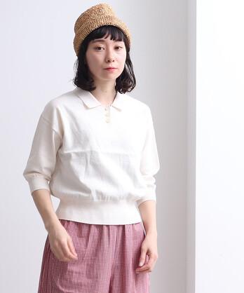 pure cotton 14G ニットポロプルオーバー