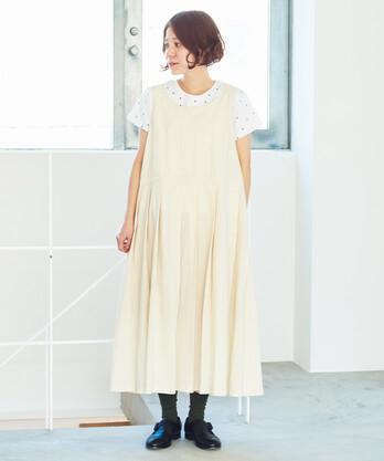 ○オーガニックコットン タックジャンパースカート