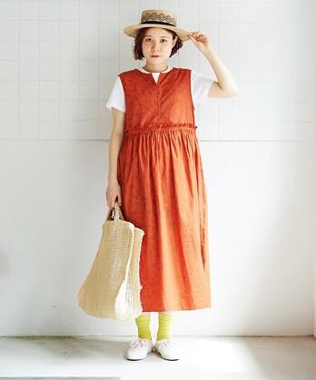 ○コットン/製品染め flowerプリント ノースリワンピース