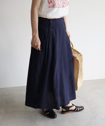 ○リネン/コットン twill セーラースカート