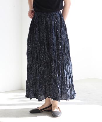 ○60/-しわしわ星空プリント ギャザースカート