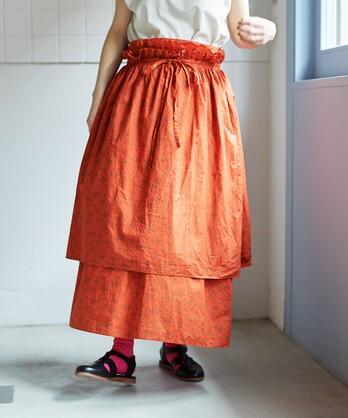 ○製品染めflowerプリント レイヤードスカート