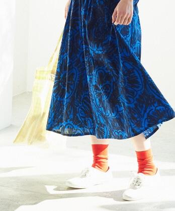 ○ぐるぐるはなプリント ギャザースカート