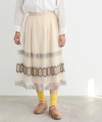 △チュール教会刺繍 ギャザースカート