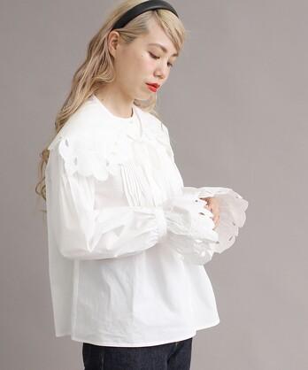 ○ヒメリンゴ刺繍 付け衿ブラウス