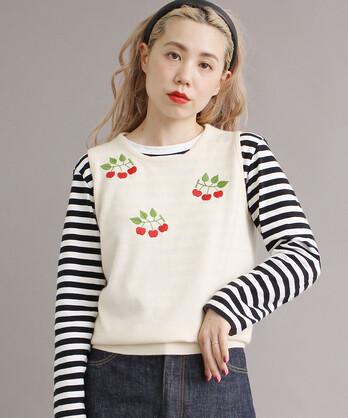 【予約販売】○ヒメリンゴ刺繍 ベスト