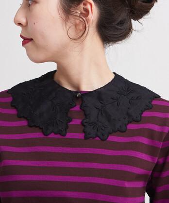 △フレンチリネン カットワーク刺繍つけ衿