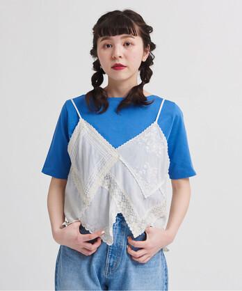 〇△C/Visローン刺繍ハンカチつなぎキャミブラウス