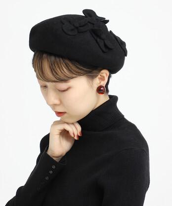 〇お花モチーフ付きベレー帽