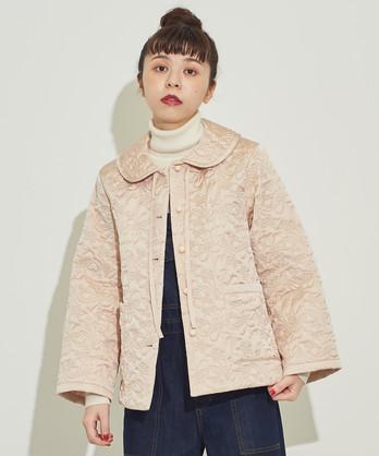 △○サテンキルティング 丸衿ジャケット