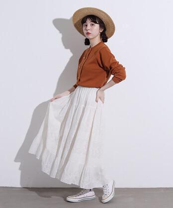 〇△C/Visローン刺繍 ティアードスカート