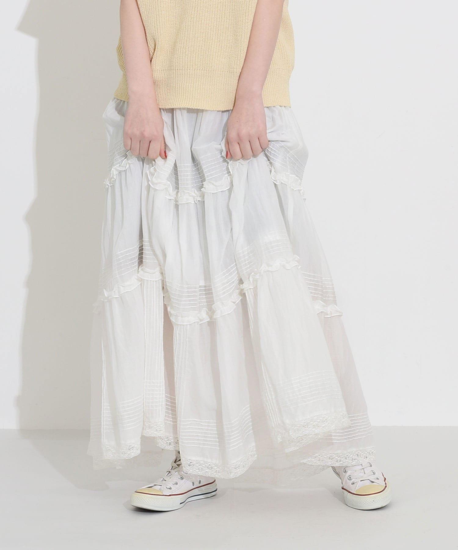 〇△80ボイル ピンタック ティアードスカート