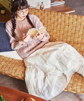 【予約販売】〇△80ボイル ピンタック ティアードスカート