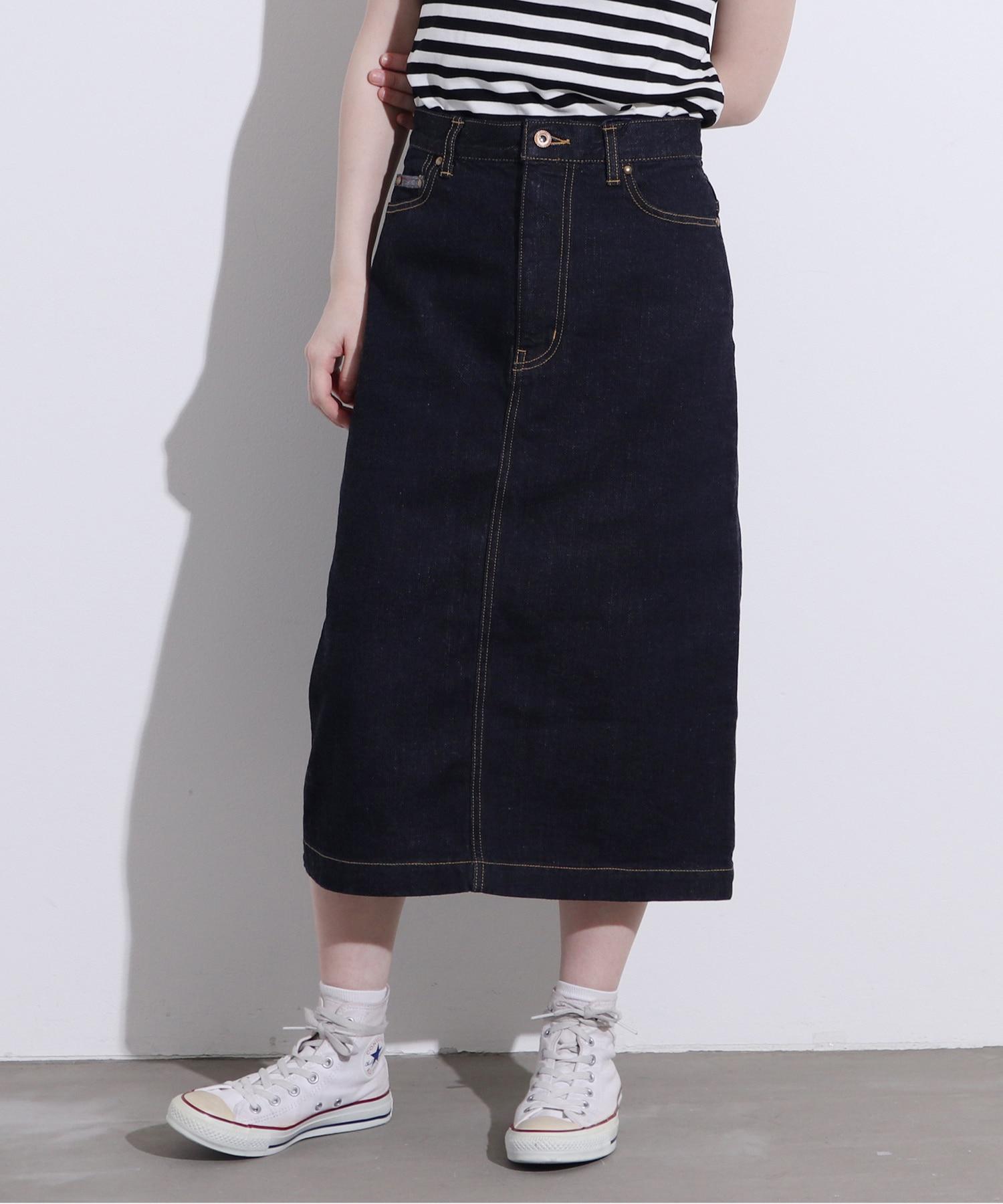 △11.36OZ ムラ糸デニム ミディアムタイトスカート