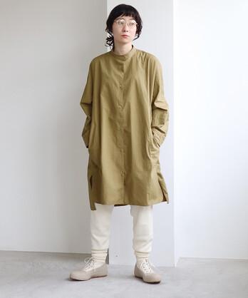コットン/キャッチワッシャー チュニックシャツ