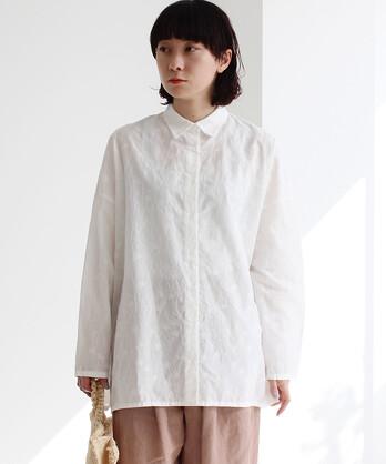 ○多色花刺繍wide シャツ