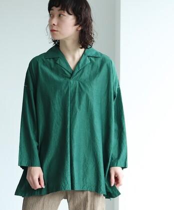 コットン/キュプラ製品染め open collar シャツ