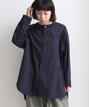 コットン/リネン low collar シャツ