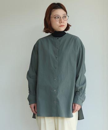 強撚コットン 製品染め ノーカラーシャツ
