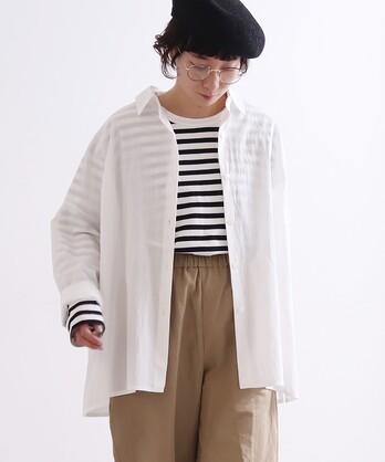 100/2強撚wrinke/コットン wide シャツ