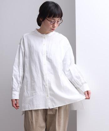 △キュプラ/コットン/リネン チュニック丈オーバーサイズシャツ