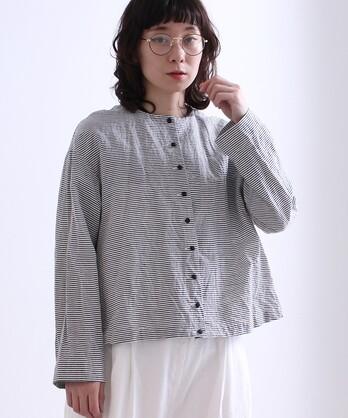 ○キュプラ/コットン boder short haori ブラウス