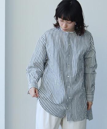 キュプラ/コットン Stipe no collar シャツ