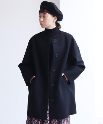 ○super100 Wool ノーカラーショートコート