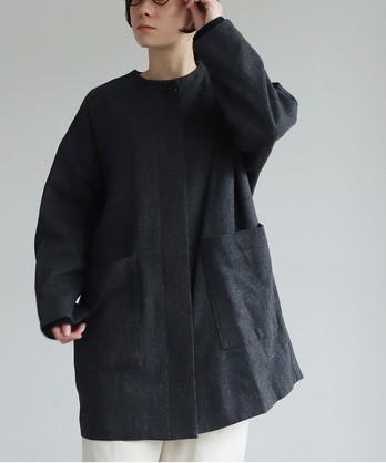 ウール/ヘリンボン ノーカラー チュニック丈コート